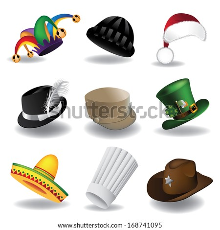 Hat collection 2. A collection of fun hats. EPS 10 vector, grouped for easy editing. No open shapes or paths.  - stock vector