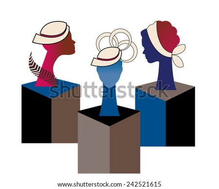 Hat display women's profiles  - stock vector