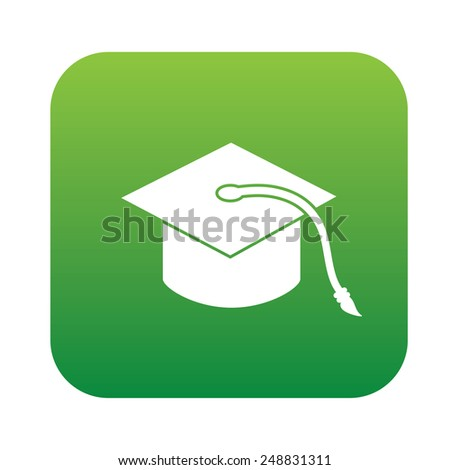 Hat education symbol design on green button,clean vector - stock vector