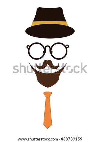 Hat, glasses and mustache icon. Hipster style concept, vector gr - stock vector