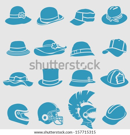 Hat icons set.Vector  - stock vector