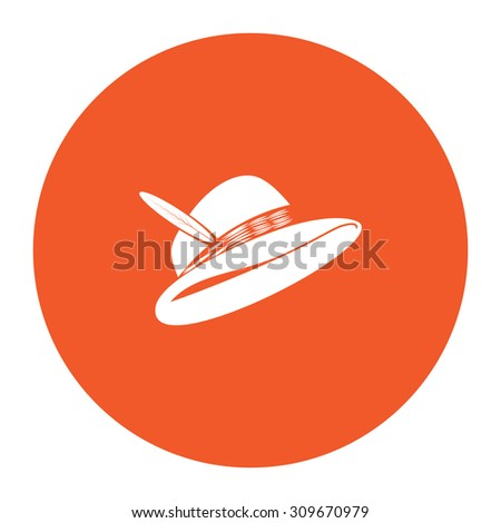 Hat with a feather. Flat white symbol in the orange circle. Vector illustration icon - stock vector