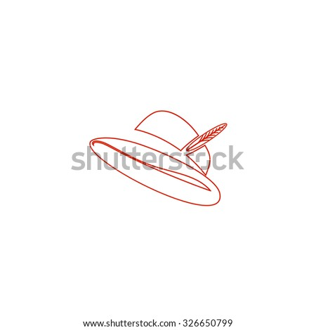 Hat with a feather. Red outline vector pictogram on white background. Flat simple icon - stock vector