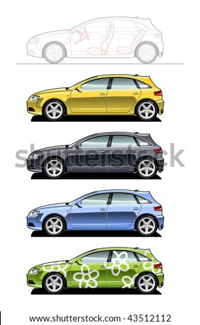 Hatchback. part of my collections  of Car body style. Simple gradients only - no gradient mesh - stock vector