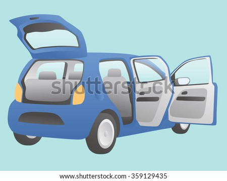 hatchback vehicle that open doors and rear hatch, vector illustration - stock vector