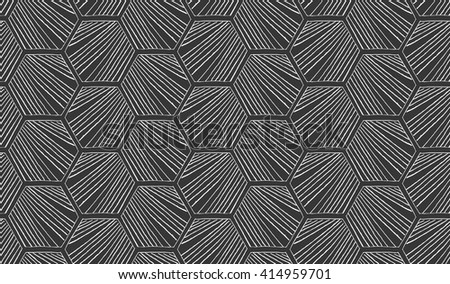 Hatched diagonally hexagons on black.Black and white simple hatched geometrical pattern.Hand drawn with ink seamless background.Modern hipster style design. - stock vector