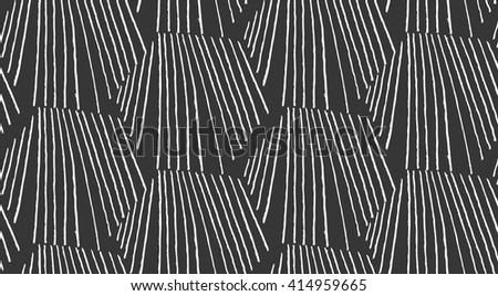 Hatched hexagonal shapes on black.Black and white simple hatched geometrical pattern.Hand drawn with ink seamless background.Modern hipster style design. - stock vector