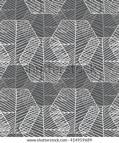 Hatched hexagons overlapping.Black and white simple hatched geometrical pattern.Hand drawn with ink seamless background.Modern hipster style design. - stock vector