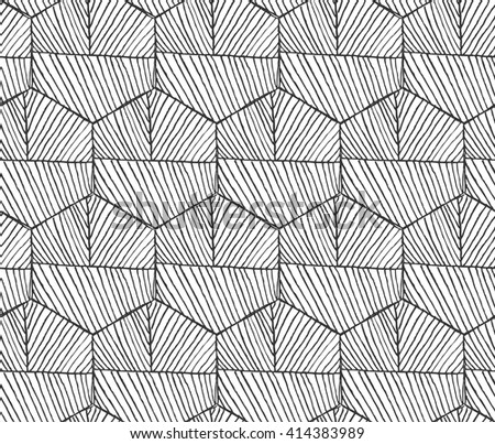 Hatched hexagons with seam horizontal.Black and white simple hatched geometrical pattern.Hand drawn with ink seamless background.Modern hipster style design. - stock vector