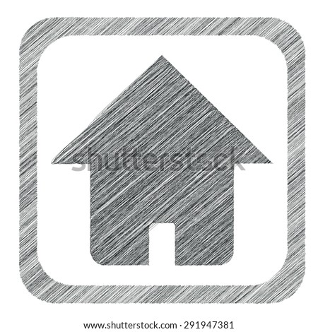 Hatched image of house in square, isolated on white - stock vector