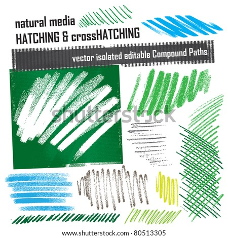 hatching elements set - natural media grunge structures - stock vector
