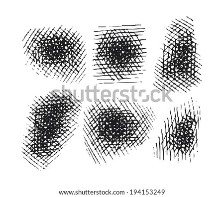 hatching elements set. vector isolated editable compound paths - stock vector