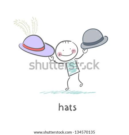 Hats - stock vector