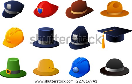 Hats and helmets collection, with policeman hat, fireman hat, sheriff hat, cowboy hat, work hat, top hat, British policeman hat, graduation hat, Irish hat, bowler hat. Vector illustration cartoon.  - stock vector