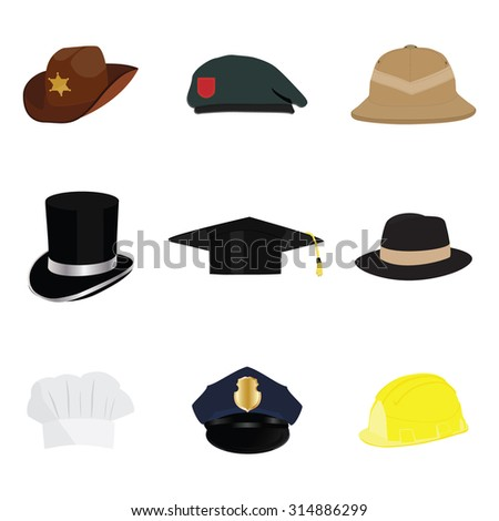 Hats and helmets collection, with policeman hat, sheriff hat, cowboy hat, work hat, top hat, graduation hat, fedora hat, safari hat, chef hat. Vector illustration cartoon.  - stock vector