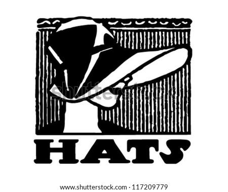 Hats Banner - Retro Clipart Illustration - stock vector