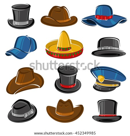 Hats collection set. Vector - stock vector