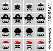 hats mustaches and glasses collection - stock vector