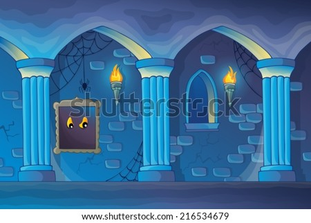 Haunted castle interior theme 1 - eps10 vector illustration. - stock vector