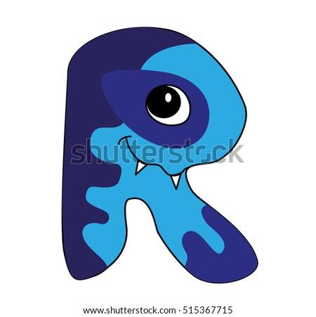 Haunted Childrens Alphabet Letter R Stock Vector