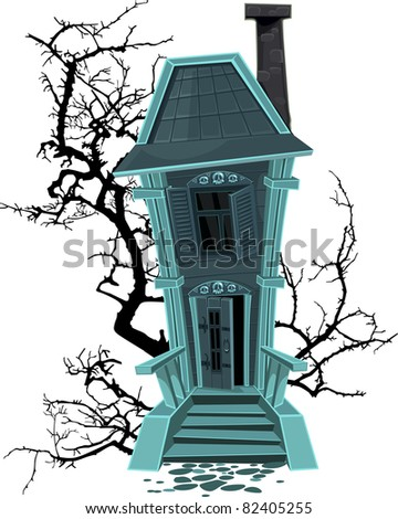 Haunted halloween witch house isolated on white background - stock vector