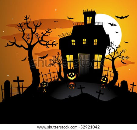 Haunted house halloween background - stock vector