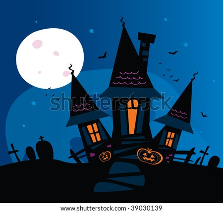 Haunted scary house. Old scary mansion. Vector Illustration. - stock vector