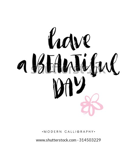 Have a beautiful day. Modern brush calligraphy. Handwritten ink lettering. Hand drawn design elements. - stock vector