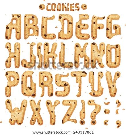 Have a Cookie font. Full ABC Part 1/2 Chocolate chips - stock vector