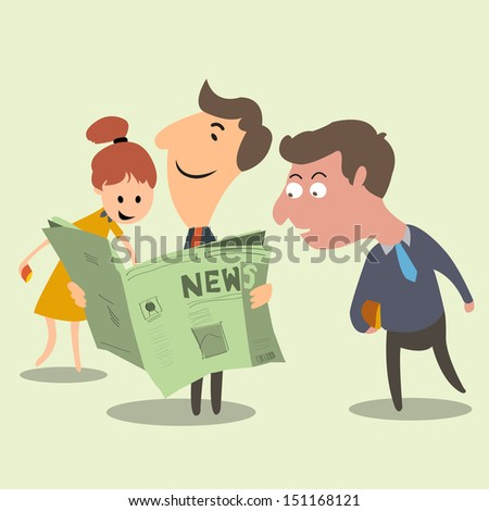 Have a good news! Business people happy and surprise with good news from newspaper. Success concept.  - stock vector