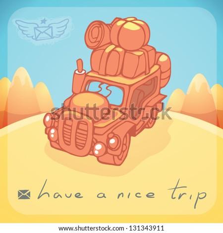 have a nice trip postcard - stock vector