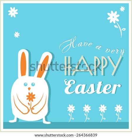Have a Very Happy Easter Easter Bunny with flowers Vector
