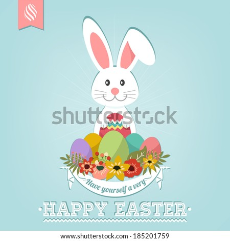 Have Yourself A Very Happy Easter Typographical Background With Bunny - stock vector
