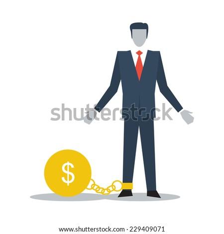 having financial burden - stock vector
