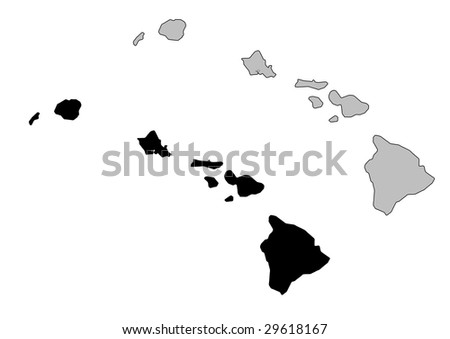 Hawai map. Black and white. Mercator projection. - stock vector