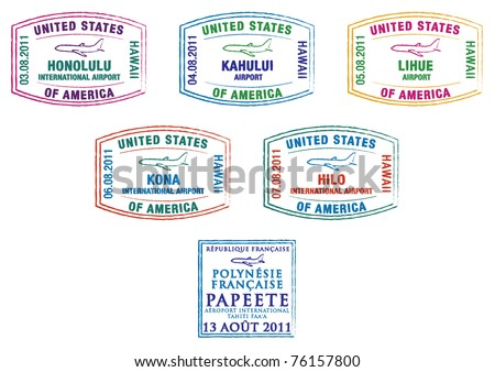 Hawaii and French Polynesia passport stamps in vector format. - stock vector