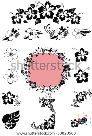 hawaii floral design black 'n white, isolated on white - stock vector