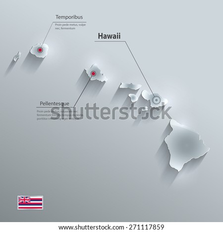 Hawaii map flag glass card paper 3D vector - stock vector