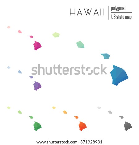 Hawaii state map in geometric polygonal style. Set of Hawaii state maps filled with abstract mosaic, modern design background. Multicolored state map in low poly style - stock vector