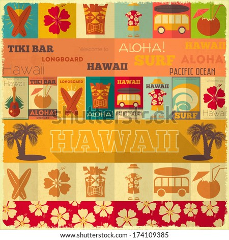 Hawaii Surf Retro Card in Vintage Design Style. Vector Illustration. - stock vector