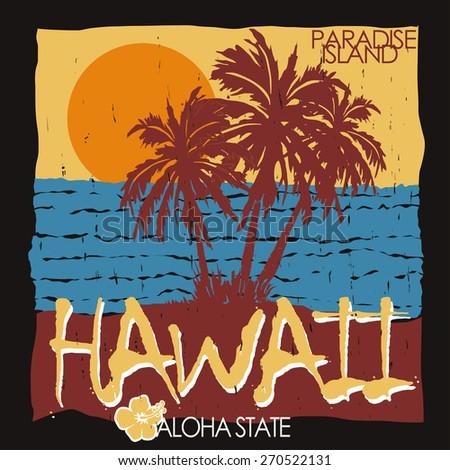 Hawaii tropical beach summer art design, Palm trees, Ocean and Sun, Typography Graphics. Summertime fun, Paradise, Silhouette. Creative T-shirt Design, vector illustration - stock vector