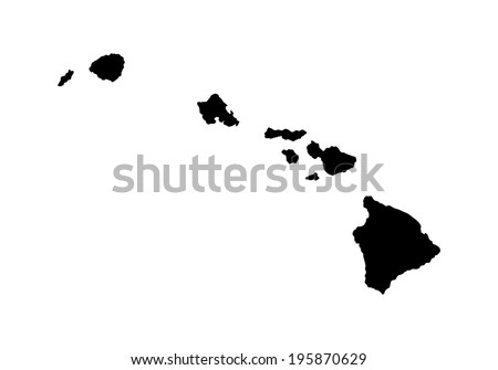 Hawaii vector map high detailed silhouette illustration isolated on white background. - stock vector