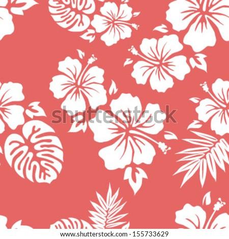 Hawaiian Aloha Shirt Seamless Background Pattern - stock vector