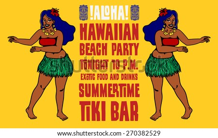 Hawaiian beach party tiki bar flyer design with dancing hula girls - stock vector