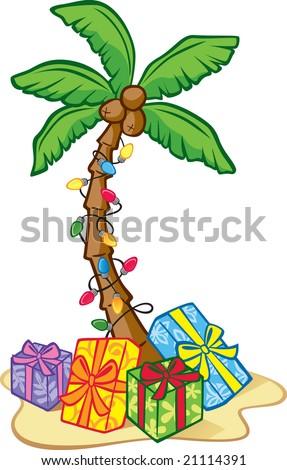 Hawaiian Christmas Tree - stock vector