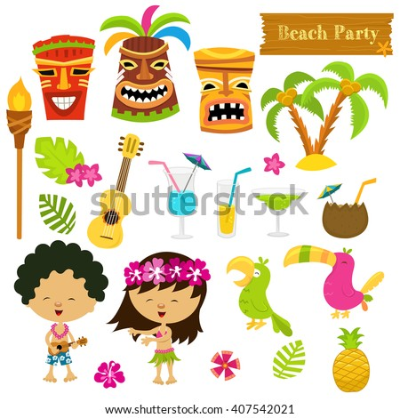 Hawaiian Collection - stock vector