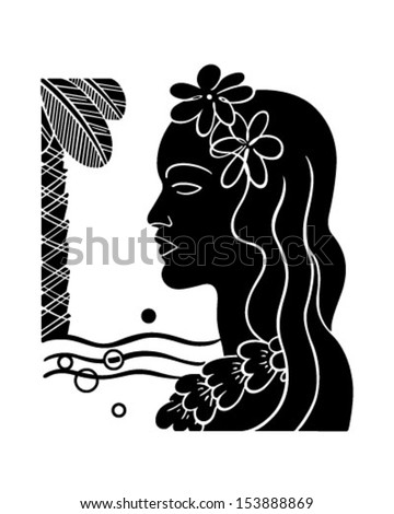 Hawaiian Girl Silhouette - Retro Clip Art Illustration - stock vector