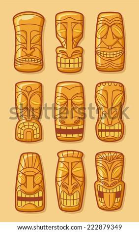 Hawaiian golden tiki god statue carved polynesian tikki ku lono gold vector illustration. - stock vector
