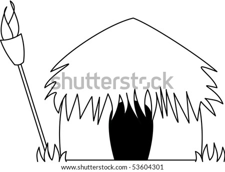 Hawaiian Grass hut - stock vector
