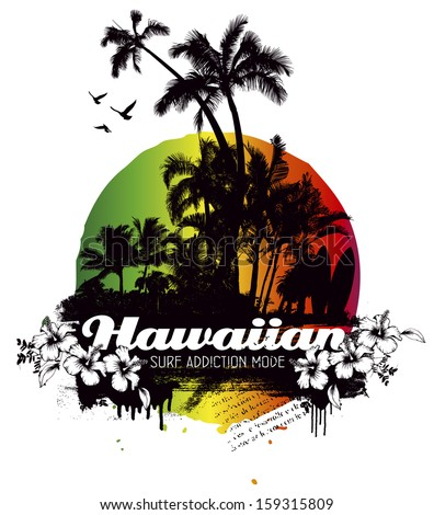hawaiian grunge summer scene with palms and hibiscus - stock vector